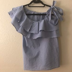 Cremieux small one shoulder ruffle top
